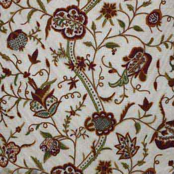 Watlab Hand Embroidered Crewel Work Organza Silk Fabric