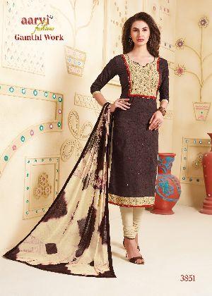3851 Gamthi Work Dress Material