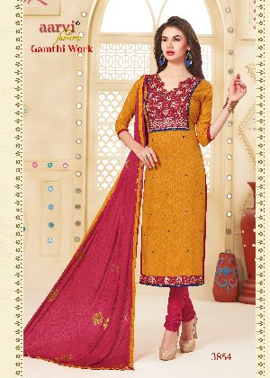 3854 Gamthi Work Dress Material