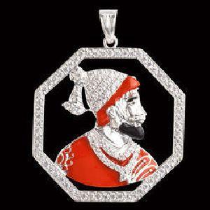 925 Sterling Silver Shivaji Maharaj Pendant 02