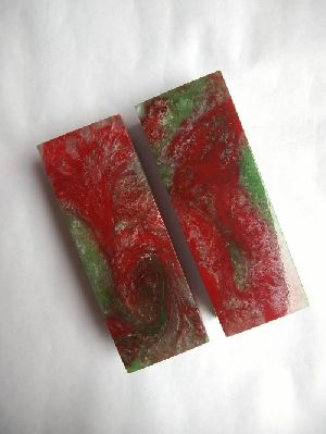 Acrylic Red & Green Knife Scales RM RH 06