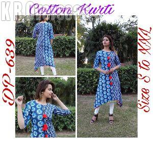 Ladies Indigo Print Cotton