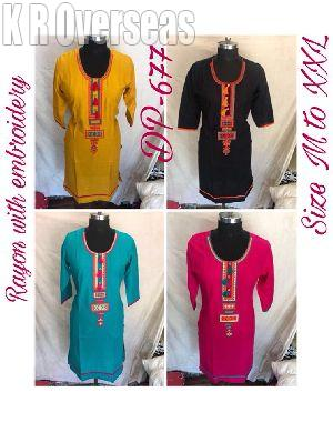 Ladies Rayon Kurti with Embroidery