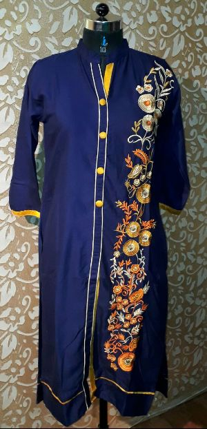 Rayon Floral Embroidered Kurti