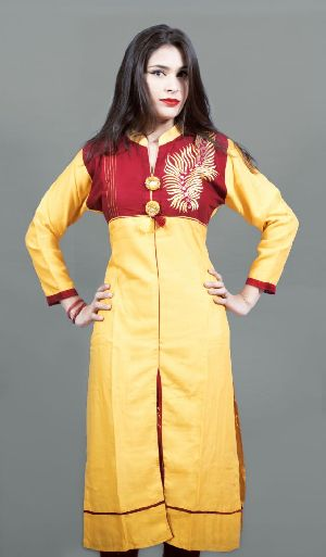 Rayon Leaf Embroidered Kurti