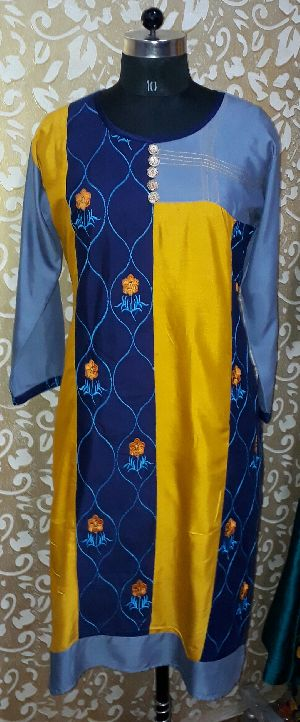 Rayon Multicolor Embroidered Kurti