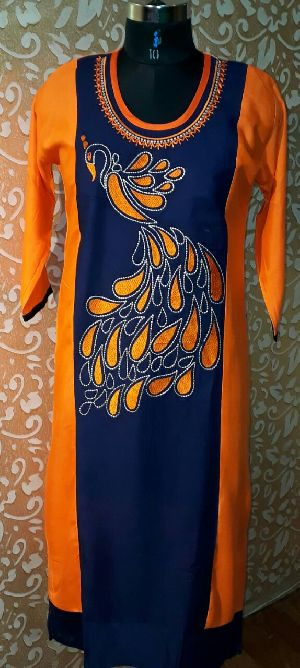 Rayon Peacock Embroidered Kurti