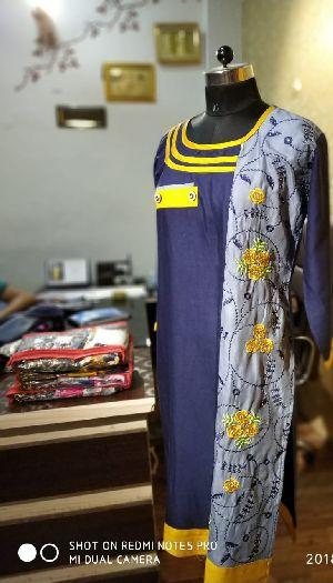 Rayon Pocket Emb Kurti