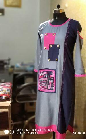 Rayon Print Double Pocket Kurti