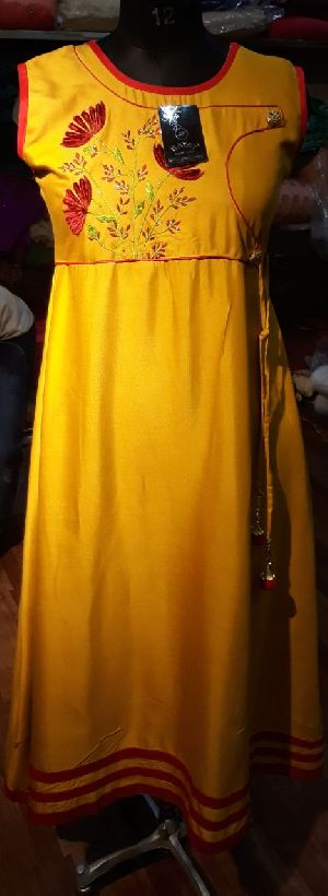 Rayon Yellow Cutwork Gown