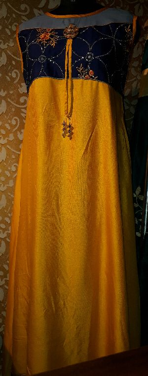 Rayon Yellow Pendent Gown