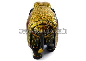 EIIW0213 Handmade Wooden Pure Gold Work Elephant Statue
