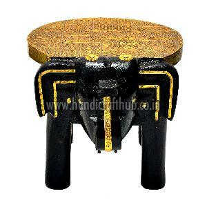Handcrafted Wooden and Brass Elephant Stool