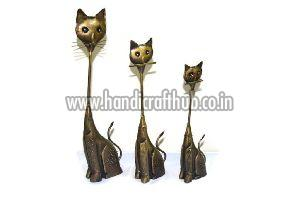 Set of Three Iron Handcrafted Cat Statue