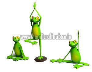 Set of Three Iron Handcrafted Yoga Frog Garden Statue