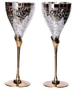 Silver & Gold Plated Brass Wine Goblet