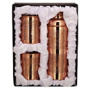 Copper Bisleri Etching Bottle & Tumbler Set