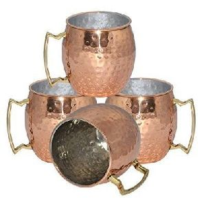 Nickel Finish Moscow Mule Hammered Copper Mug
