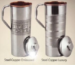 Copper Steel Embossed Luxury Fridge Bottle Jug