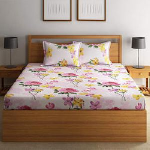 Swayam 120 TC Cotton White & Pink Double Bedsheet Set