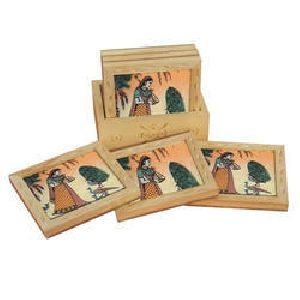 Wooden Rectangular Shaped Coaster Set