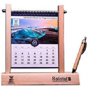 Wooden Desk Calendar With Pen