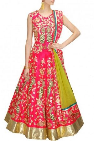 Pink Dori Work Raw Silk Lehenga Choli