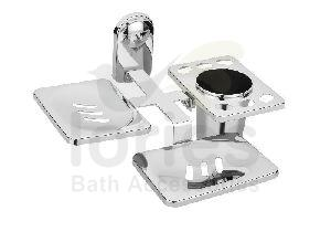 Stainless Steel Deluxe Double Soap Dish With Toothbrush Holder
