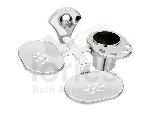 Stainless Steel Royal Double Soap Dish With Toothbrush Holder