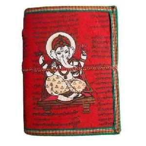 Ganesha Print Leather Diary