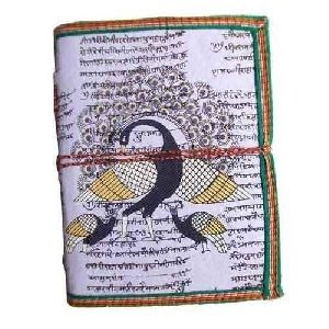 Handmade Peacock Print Leather Diary