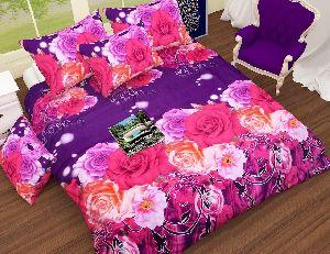 Flower Printed Blue And Pink Comforter Set