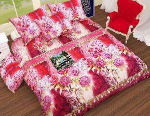 Flower Printed Baby Pink Comforter Set