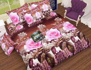 Flower Printed Chocolate And Light Pink Comforter Set