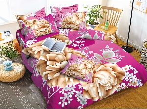 Flower Printed Purple And Beige Comforter Set