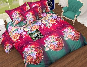 Flower Printed Red And Green Comforter Set