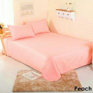 Peach Color Plain Bed Sheet