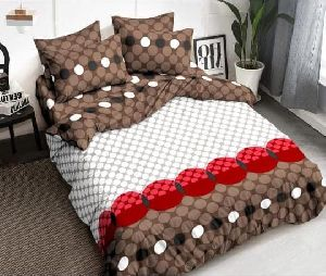 White & Brown Designer Cotton Bed Sheets