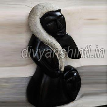 Black Stone Woman Statue