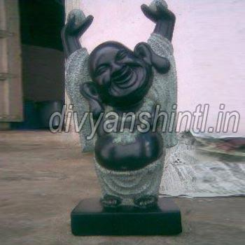 Black Marble Laughing Buddha