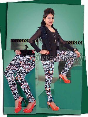 Ladies Printed Cotton Lycra Leggings 01