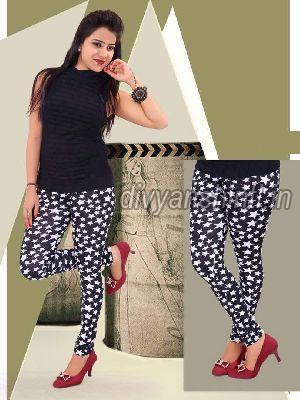 Ladies Printed Cotton Lycra Leggings 02