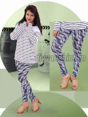 Ladies Printed Cotton Lycra Leggings 05