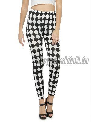 Ladies Printed Cotton Lycra Leggings 12