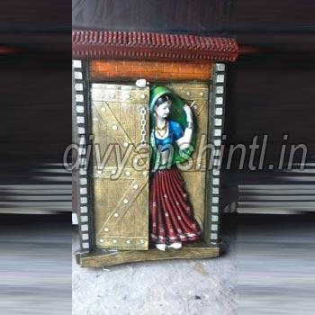 Marble Dust Rajasthani Woman Statue