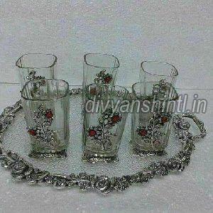 Silver Work Round Tray Glass Set