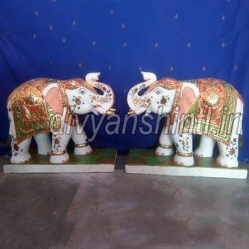 White Marble Elephant Pair Statue