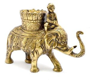 Brass Elephant Pen Holder