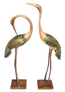 Brass Love Cranes Pair Statue