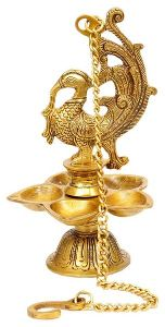 Brass Peacock Hanging Diya